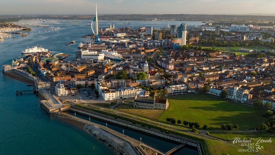 ariel view southsea seafront old portsmouth garrison church spinnker tower